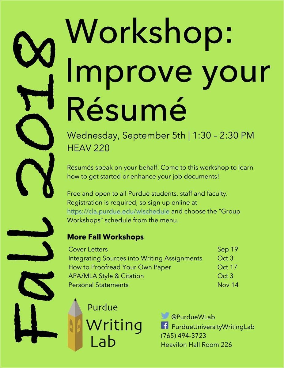 Purdue Writing Lab On Twitter Fall Career Fairs Are Approaching