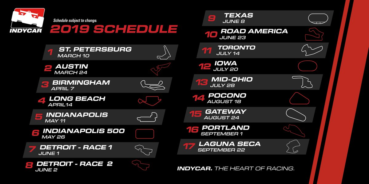 """AJ Foyt Racing on Twitter: """"The 2019 #INDYCAR schedule is ..."""