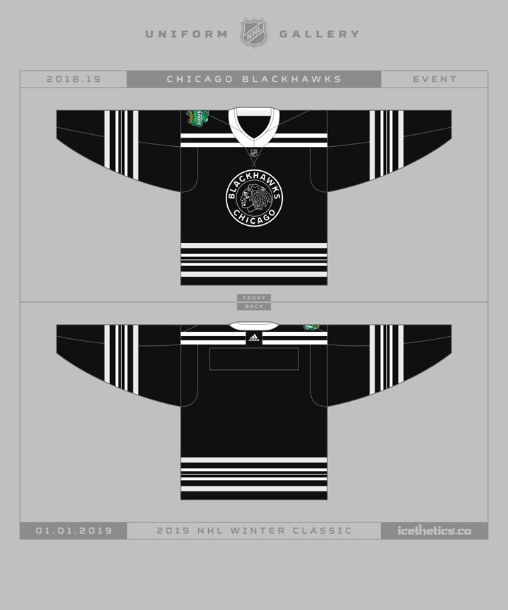 For your enjoyment… the 2019  NHL  WinterClassic jersey designs for the   Bruins and  Blackhawks !pic.twitter.com IKIA3pWxET bf7d6bfce99