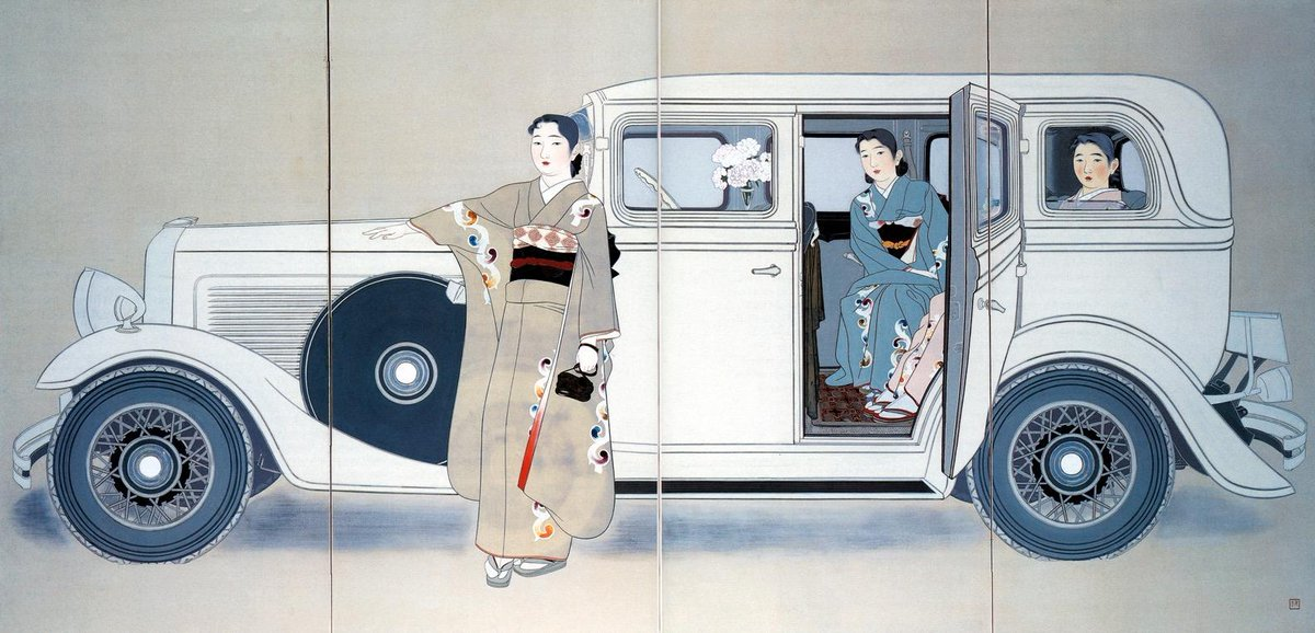 #transportationtuesday is also #worlddeco today. This painting is Three Sisters by Yamakawa Shūhō, 1936, in the collection at the Honolulu Museum of Art. The Art Institute of Chicago also has one of his works in its collection. #artdeco #painting #chicago #vintage #yamakawashuho