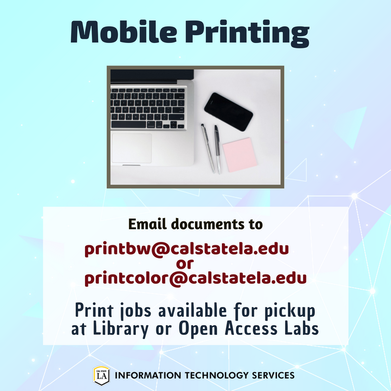 Printcolorcalstatelaedu To Send Them Printers In The Library Or Open Access Labs Remember Load Money Onto Your CalStateLA OneCard