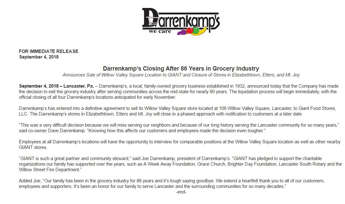 Beccah Hendrickson On Twitter Breaking Darrenkamps Is Closing
