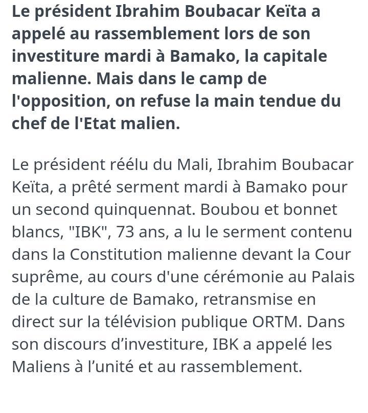 Le PR @IBK_PRMALI appel au rassemblement pour faire face au défi que la Nation #Mali-enne doit relevée.  @OCISSE691 @ASSADEK @ThiernoHady @SowAmadoualisow @konate90 #PresidentielleMali2018 #Koulouba2018 @sambitoure @MarcusDiawara