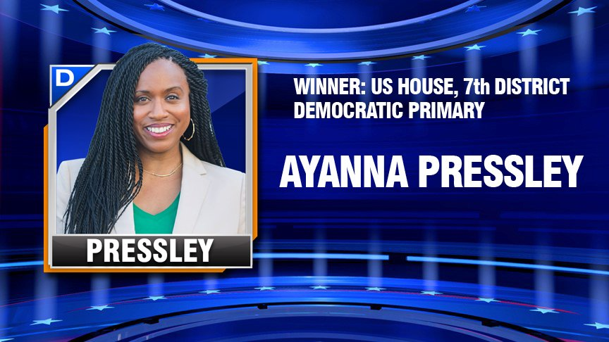 LATEST: Ayanna Pressley defeats Michael Capuano in 7th District race. #7News