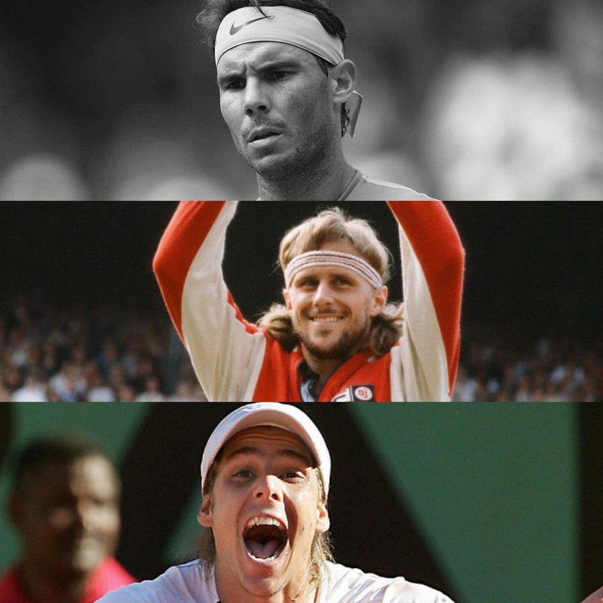 Ganaron en un Grand Slam (era Open) de cuartos en adelante tras recibir un rosco en el primer set:  1️⃣ Borg🇸🇪 contra Connors en Wimbledon 1981 (semis). 2️⃣ Gaudio🇦🇷 contra Coria en Roland Garros 2004 (final). 3️⃣ NADAL🇪🇸 contra Thiem en #USOPEN 2018 (cuartos).