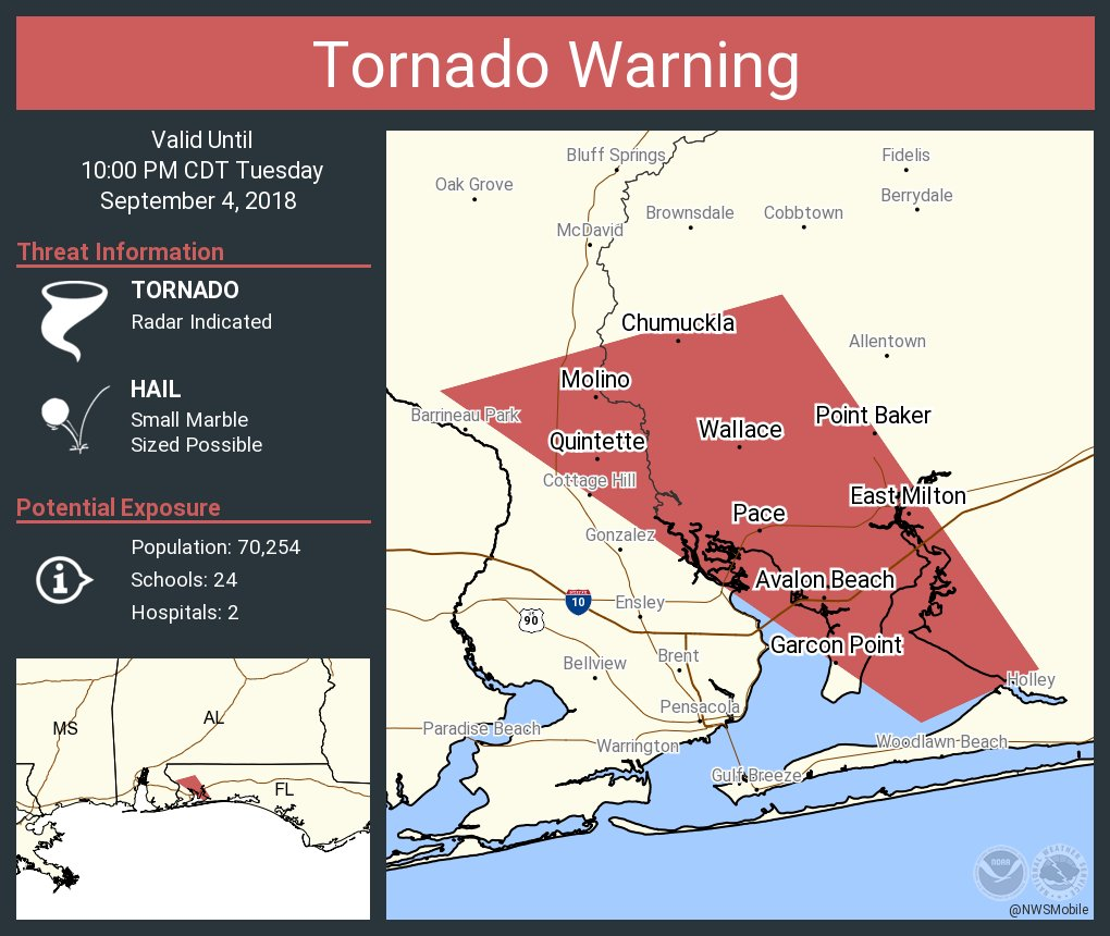 Pace Florida Map.Nws Mobile On Twitter Tornado Warning Including Pace Fl East