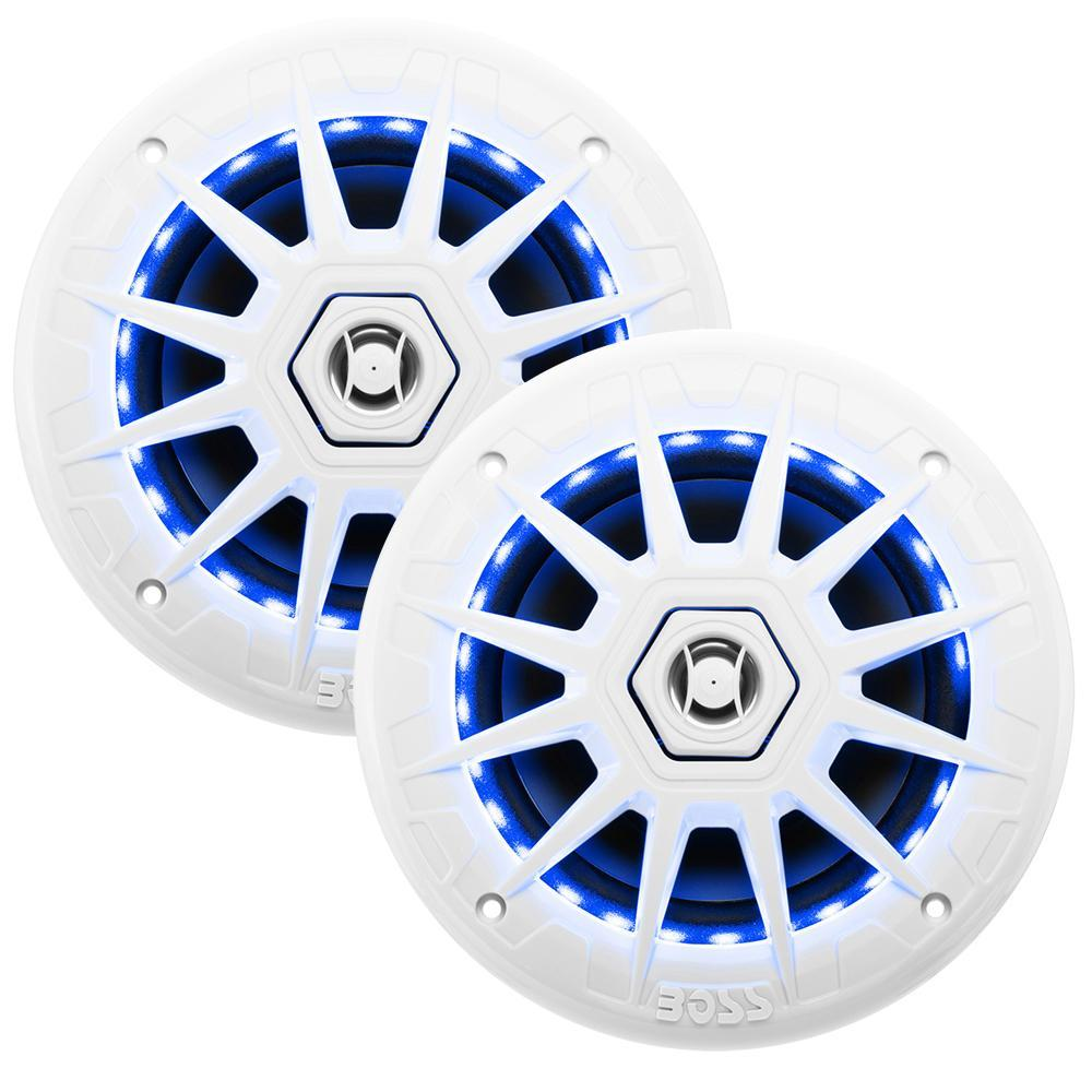 "Pair Boss Audio MR60W 6.5/"" 200 Watt White Marine 2-Way Boat Speakers"