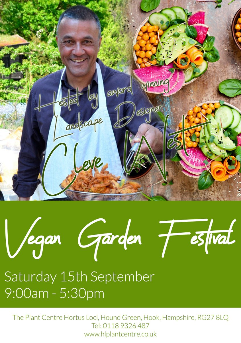 ONE WEEK TO GO until our very first Vegan Garden Festival! Hosted by landscape designer @clevewest you will be treated to gardening talks, vegan cooking and cocktail demos, a special new book preview and a delicious lunch available to purchase from The http://HOBO.CO!