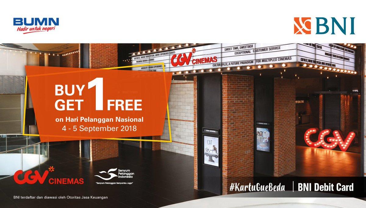 ... mendapatkan promo Buy 1 Get 1 Free di CGV dalam rangka Hari Pelanggan Nasional! Promo berlaku untuk semua jenis Kartu Debit BNI berlogo Mastercard, ...