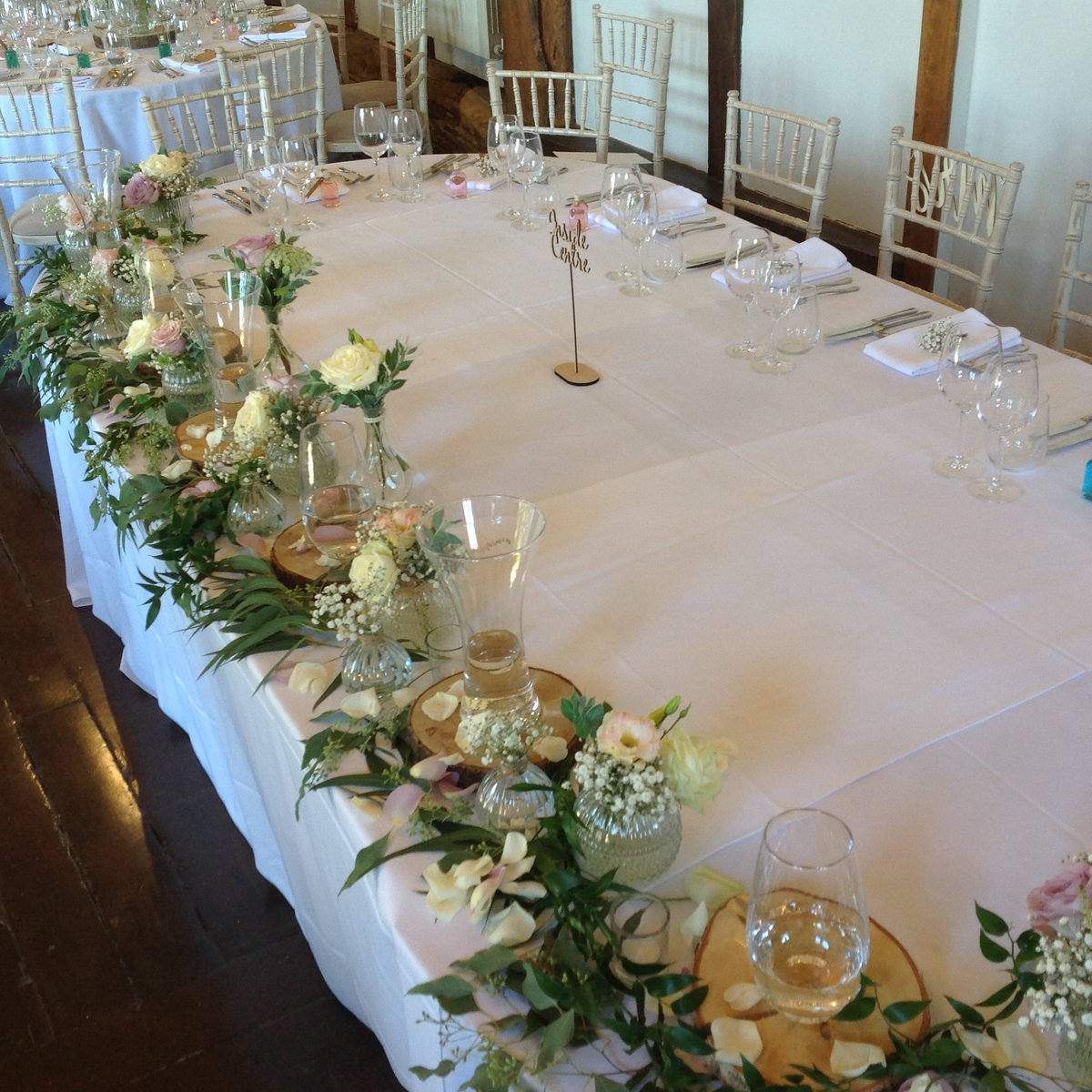 More on our lovely #wedding here last Saturday @loseleypark @loseleyevents with gorgeous posies lining the #toptable and vases ready and waiting for the #bridesmaidbouquets to arrive!