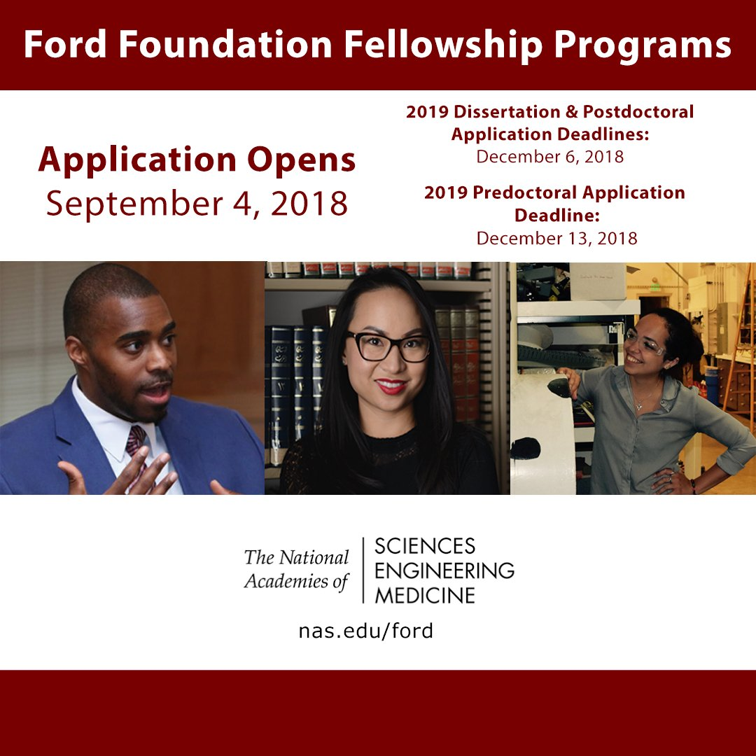 #PreDoc #Dissertation #PostDoc Ford Foundation Fellowships will be awarded in a national competition by @theNASEM #FordFoundationFellowship #Research #ECRchat #Diversity #PhDs ow.ly/Jvsm30l4Pfn