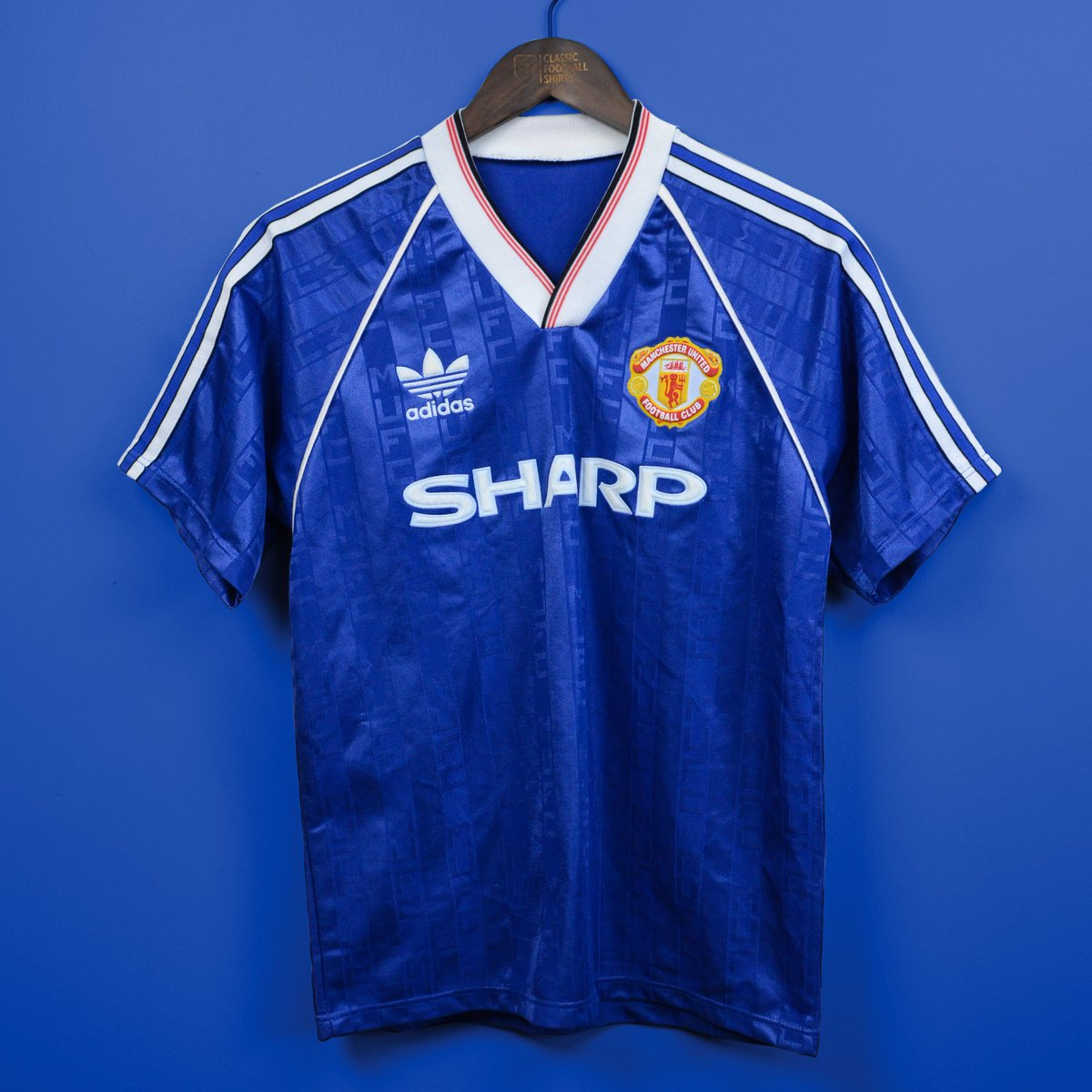 a5397f2e2e9 Man United in blue 1986-90  Adidas produced stunning blue kits in the 1980s  including these two designs from 86-88 and 88-90.