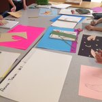 "Image for the Tweet beginning: 7th grade creating their ""Handscapes!"""