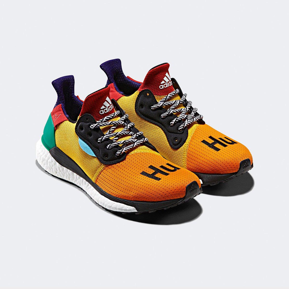 9b0e566d4 Coming soon on  sneakersnstuff.  Pharrell x adidas Solar Hu Glide.  Multicolor https   bit.ly 2LYXyFX Black https   bit.ly 2oH1lP5 White ...