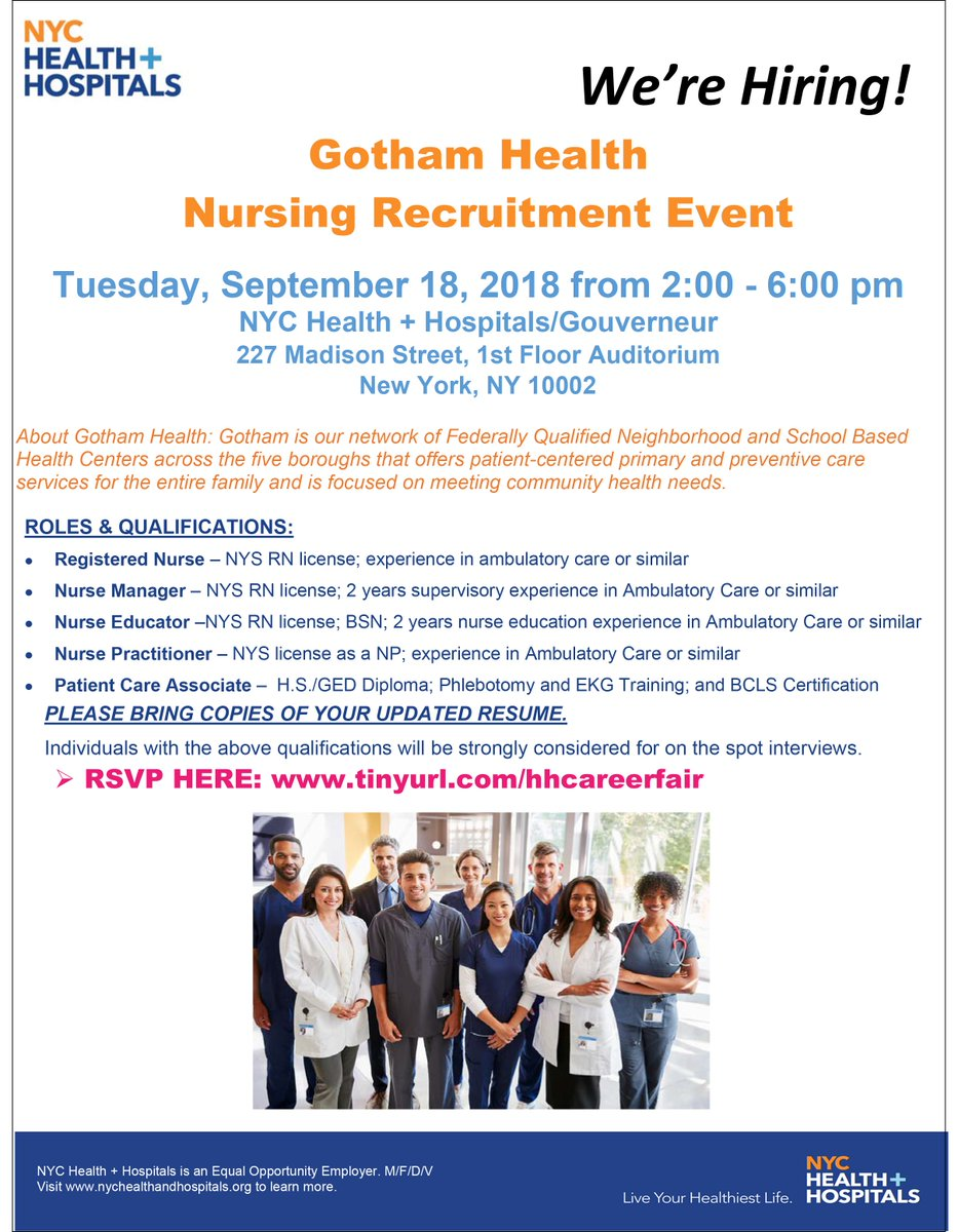 Nyc Healthhospitals On Twitter Sept 18 Come To Our Nursing