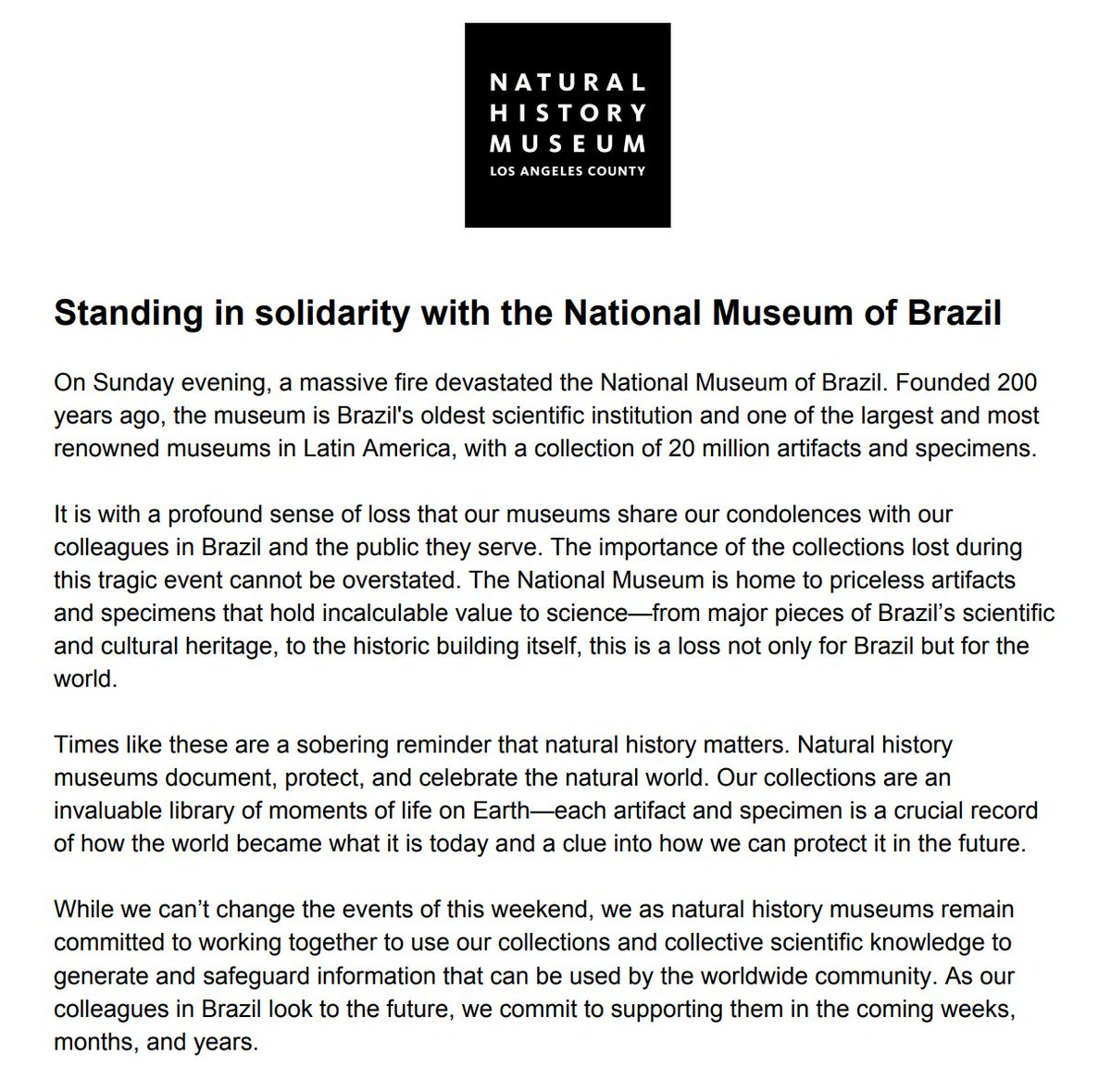 We join other museums around the world standing in solidarity with the National Museum of Brazil @MuseuNacional. 🇧🇷 🌎 🇧🇷 Read our full statement here: bit.ly/2MNyvLk