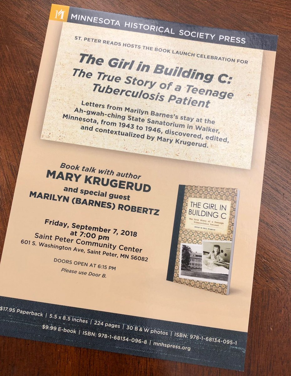 """... the new book, """"The Girl in Building C: The True Story of a Teenage  Tuberculosis Patient."""" Details on the event here: http://bit.ly/krugerud  @MNHSPress ..."""