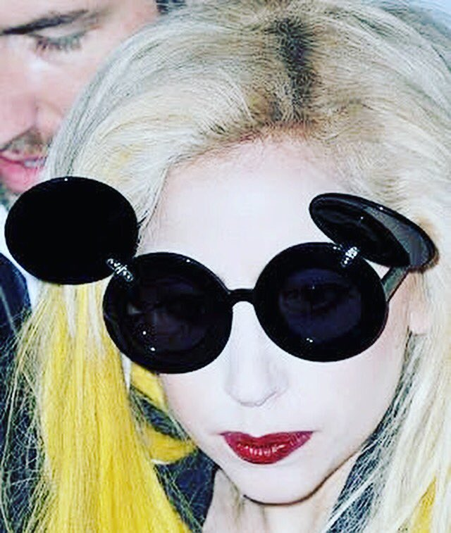 520a099c18de Lady Gaga wearing Jeremy Scott Mickey Mouse Linda Farrow sunglasses Linda  Farrow eyewear available at Vitra Eyewear®  vitraeyewear  eyewear   sunglasses ...