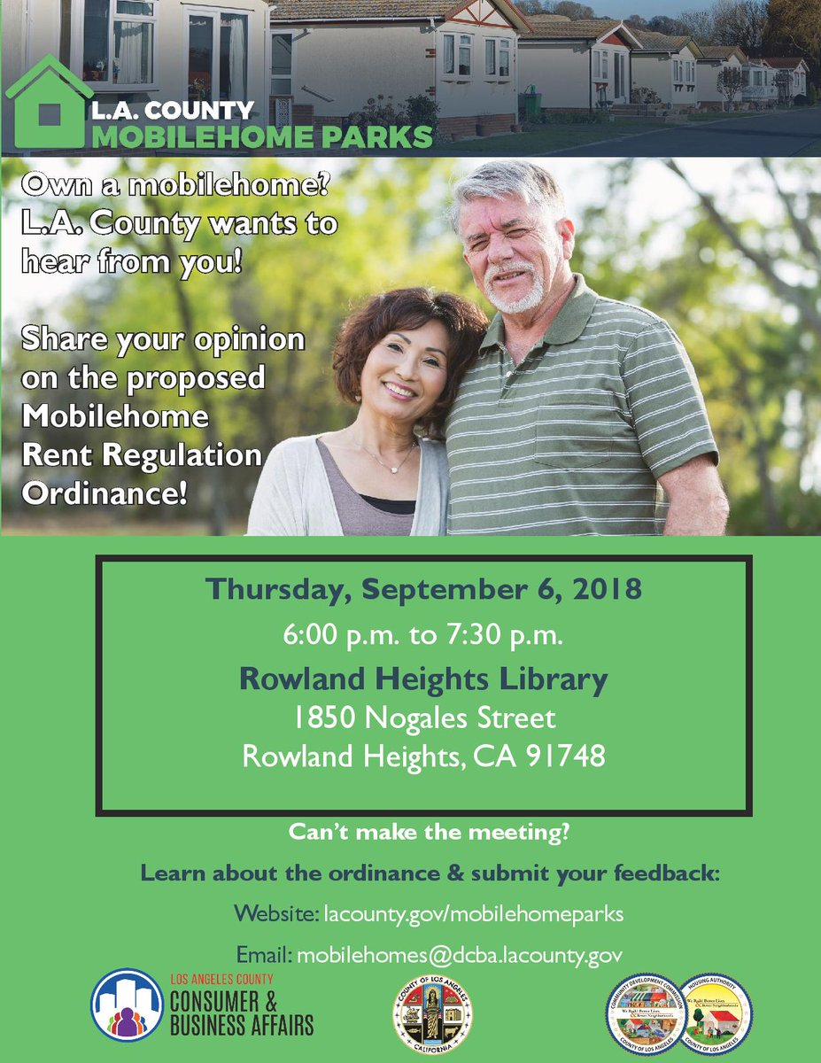 We'll be in #RowlandHeights for a community roundtable tonight! Can't make it? Take our survey to provide feedback on the proposed ordinance: https://t.co/zUpfYzNeKY @CountyofLA @SupJaniceHahn