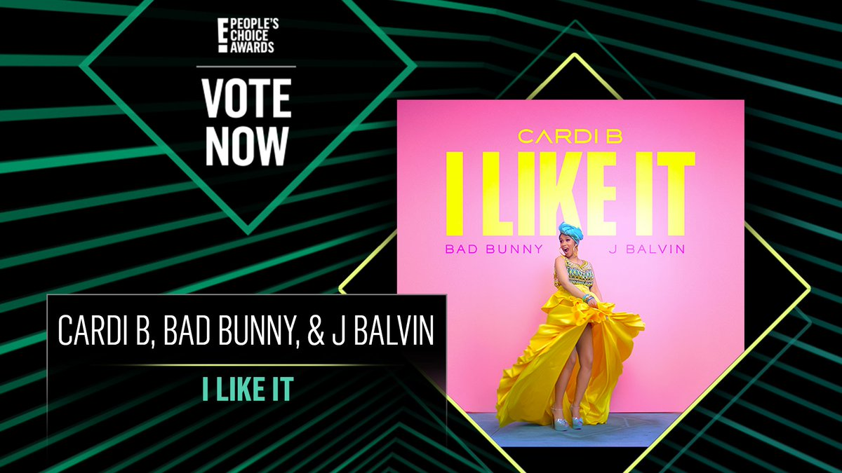 Vote for Cardi B, Bad Bunny, & J Balvin's I Like It by retweeting this post:  #CardiB #ILikeIt #TheSong #PCAs