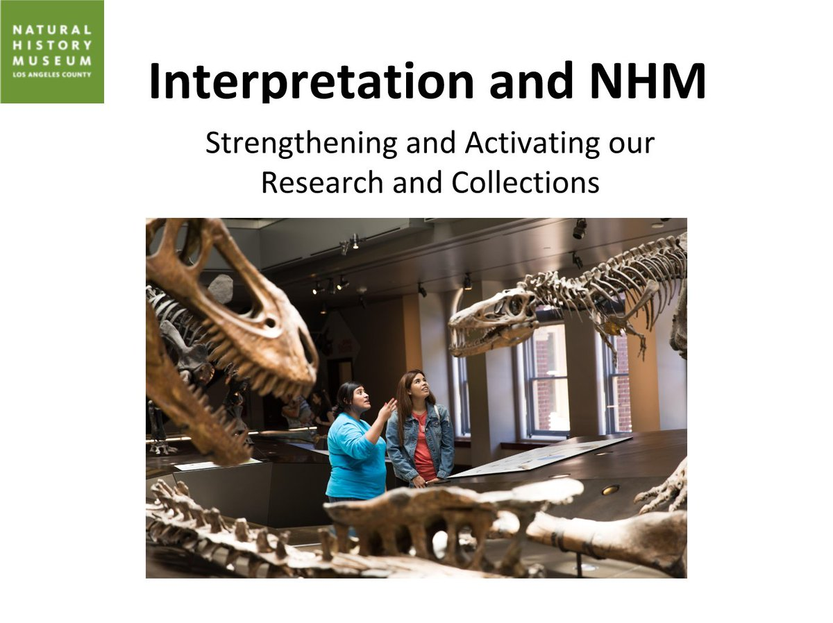Many visitors believe the best interactive is another human being. - Luis Chiappe, Ph.D, V.P. of Research & Collection at @NHMLA. Said after todays presentation by 3 members of NHMLAs #interpretation team. Great to hear a scientist vocalize value to #museumeducators.