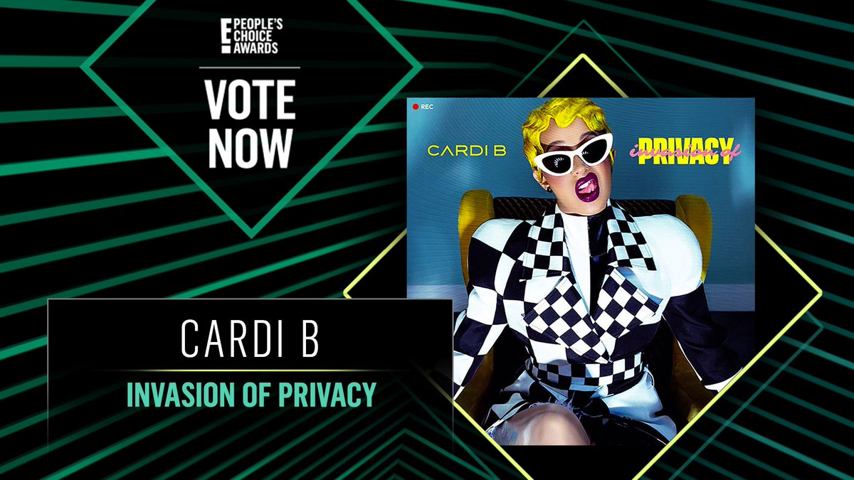 Vote for Cardi B's Invasion of Privacy by retweeting this post: #CardiB #InvasionOfPrivacy #TheAlbum #PCAs