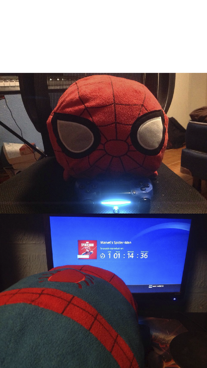 Spiderman Plushie That Swing From The Ledge And Wants To Play