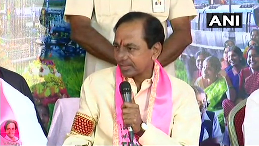Everyone knows what Rahul Gandhi is...the biggest buffoon in the country. Whole country has seen how he went to Mr Narendra Modi and hugged him, the way he is winking. He is a property for us, the more he comes (to Telangana) the more seats we will win: K Chandrashekhar Rao