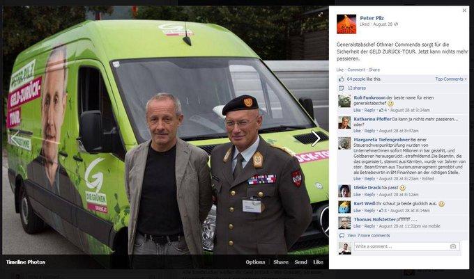 a3683922f64ba 5 Jahre ist´s her  Der damals Grüne  Peter Pilz macht Wahlkampf-Werbung  ausgerechnet mit dem uniformierten höchstrangigen Bundesheer-Soldaten.