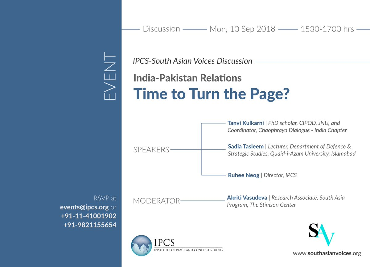 #DiscussionInvite | #IndiaPakistan Relations: Time to Turn the Page? I Mon, 10 Sept 2018, 1530-1700 hrs at #IPCS, New Delhi I Co-hosted by @IPCSNewDelhi and @StimsonCenters @SAVoices. RSVP at events@ipcs.org/91-11-41001902/91-9821155654 More details: ipcs.org/events_select.…