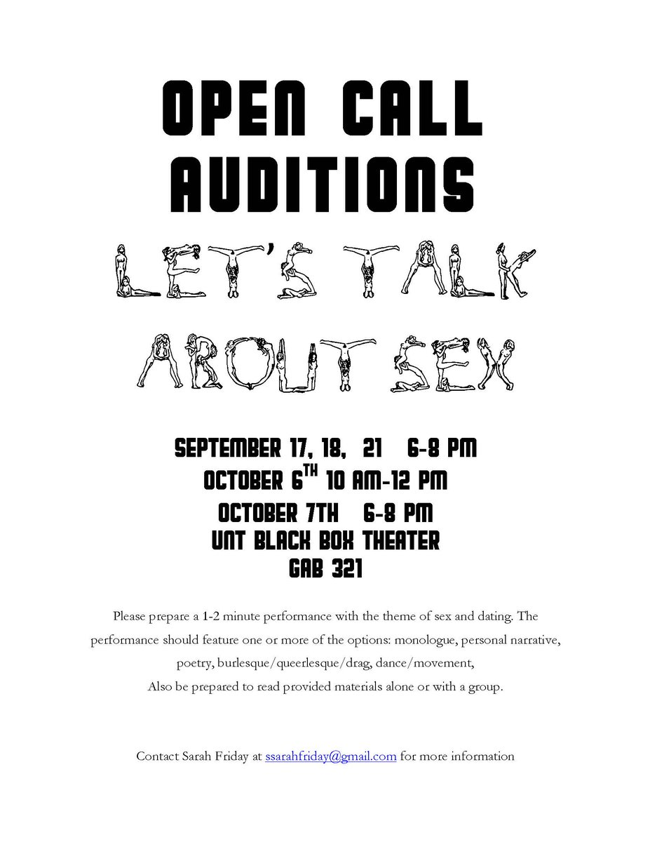 auditions are september 17th 18th 21st and october 6th 7th please e mail sarah friday at sarah friday unt edu for more information