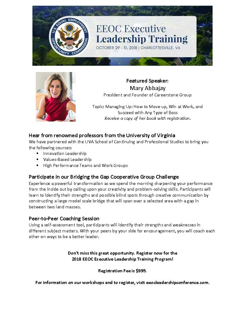 Eeoc Ofo On Twitter The 2018 Eeoc Executive Leadership Training