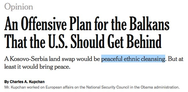 """test Twitter Media - A New York Times op-ed is advocating for """"peaceful ethnic cleansing"""" in the Balkans.Sound off in the comments or send your own thoughts and op-eds about the proposed Kosovo-Serbia land swap to editor@balkanist.net https://t.co/tr5CFDOse2"""