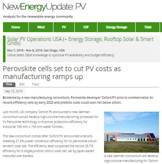 New Energy Update discusses Oxford PV's record setting perovskite-silicon solar cell, our roadmap to even higher efficiencies and new consortium to prepare #perovskite #solar cells for high volume manufacturing. Read our news here: https://t.co/udKJVMoBpe