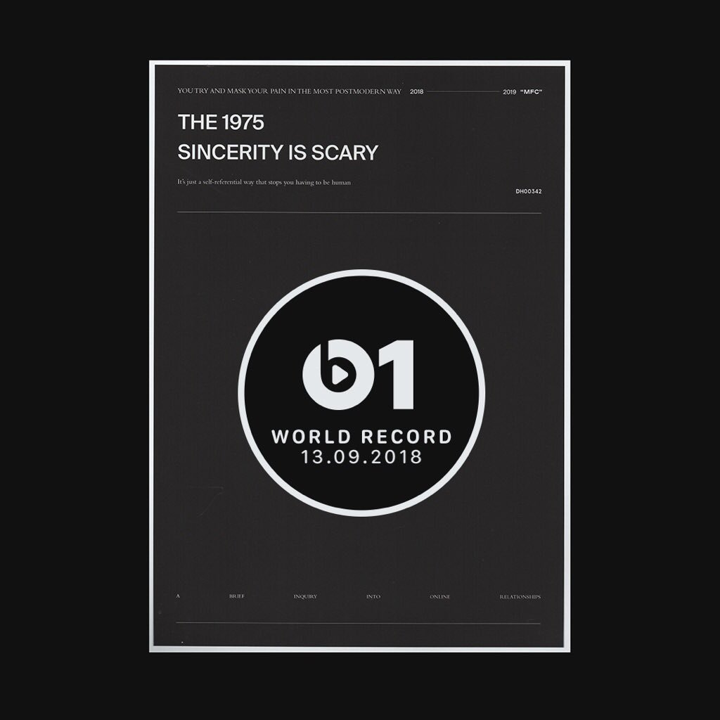 ITS HERE 🖤 Today's #WorldRecord from @the1975 'Sincerity Is Scary' 👉🏼📲 LISTEN apple.co/_SincerityIsSc…