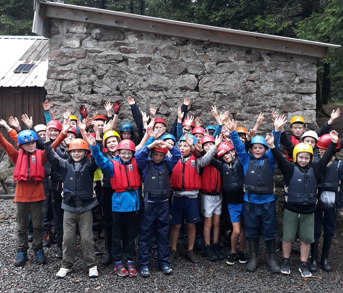 Year 7 at Tir-y-Cwm, Beechen Cliff's cottage in the Brecons - about to set off on a hike across the peat moors and a river walk - geared up to get covered in slime and thoroughly soaked ..... and having a fantastic time!
