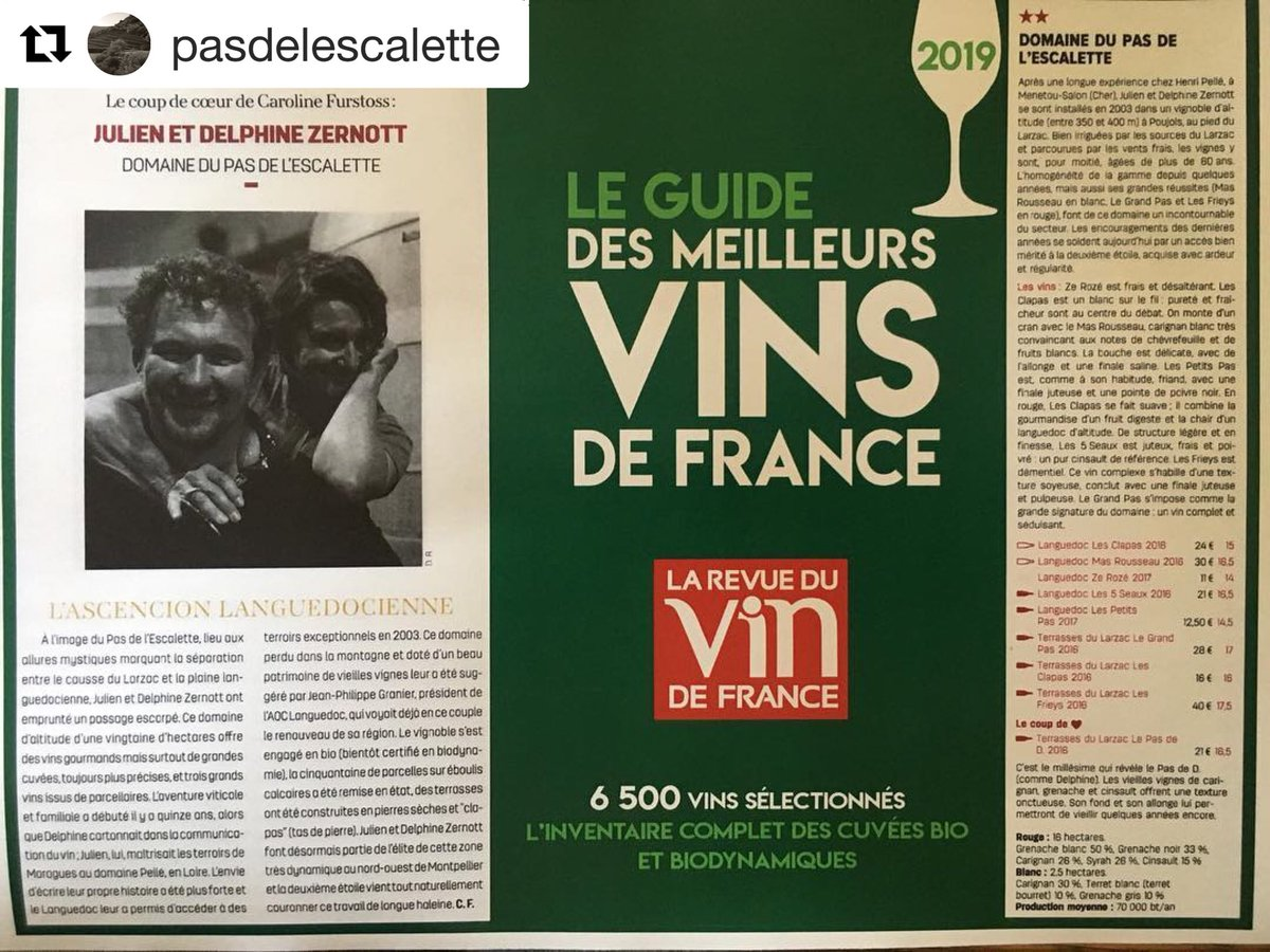 Felicitations aux #vignerons mentiones dans Le Guide - nous esperons etre parmi vous l'annee prochaine.  #TerrassesDuLarzac #Languedoc #revuedevindefrance