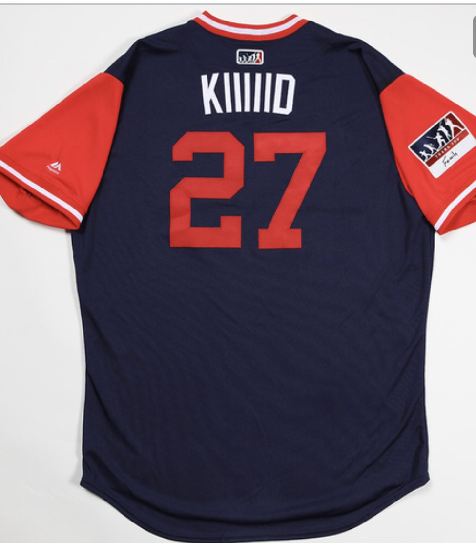 """a77cbc30bcd Mlb auctioning off game used players weekend jerseys. top bid right now is  for mike trout s """"kiiiiid"""" uniform ( 2"""