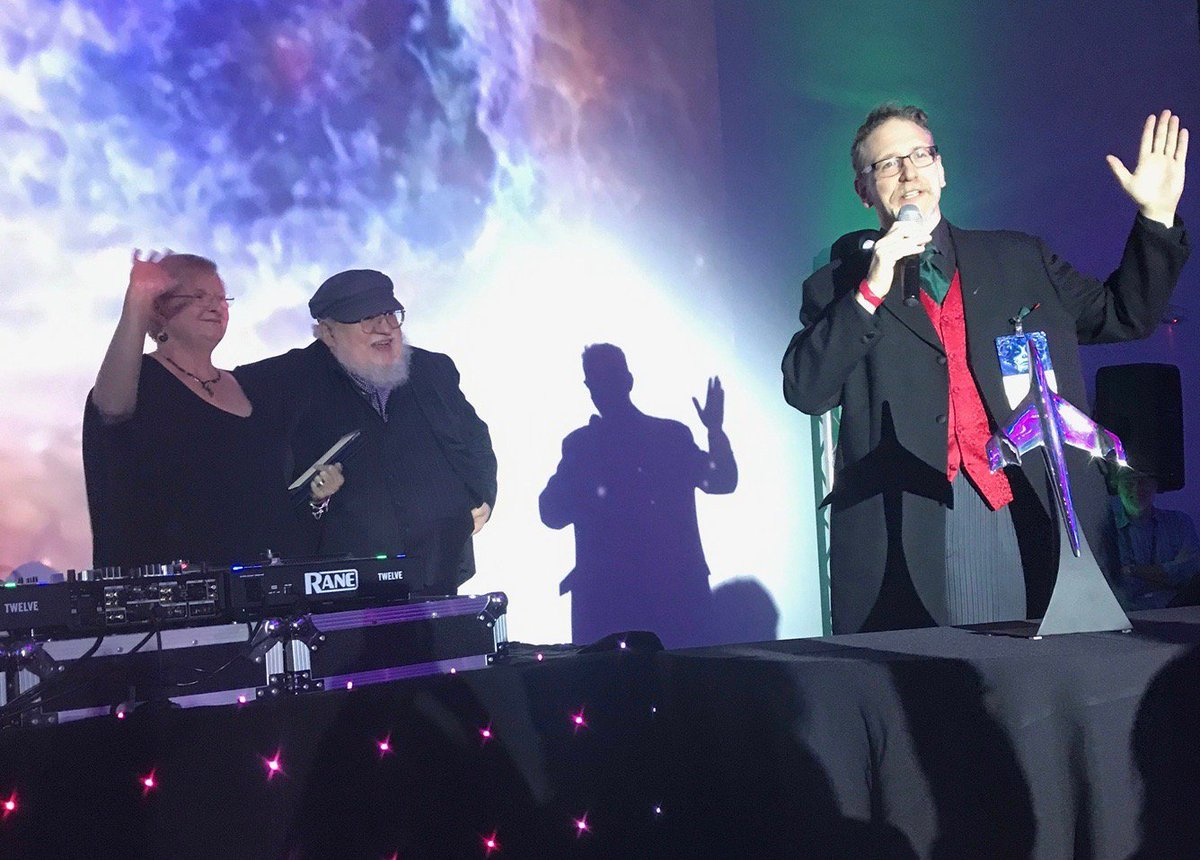 #TBT Parris, GRRM and James Bacon of Ireland Worldcon 2019, raise the roof at Hugo Award Losers party last month in San Jose, CA. dublin2019.com