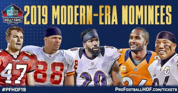 BREAKING: The Modern-Era nominees for the Class of 2019 has been released. The list is comprised of 102 players and coaches. Among the group announced are four first-year eligible players. #PFHOF19  Learn About the Nominees: https://t.co/fc0erpDwPM