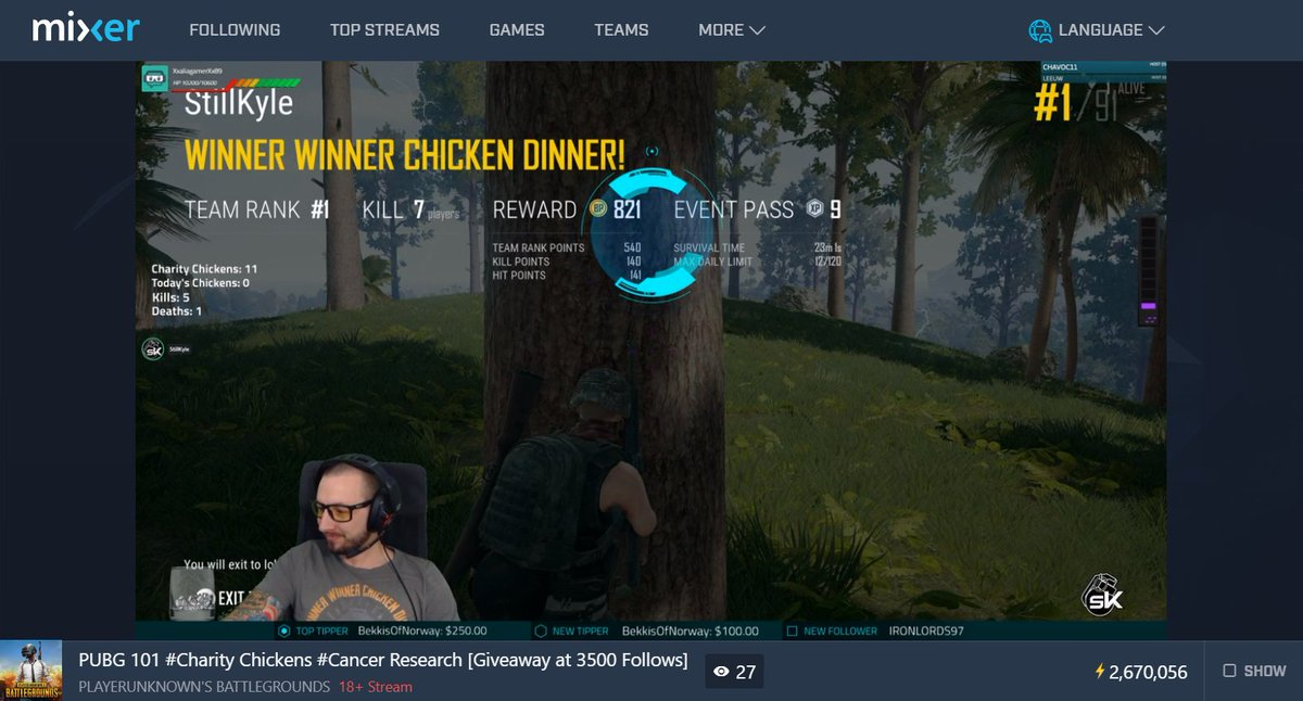 Drop by and root on @StilKyle as he's doing a #ChickensForCharity Challenge!  Every time he gets a #PUBG 🐔in Sept, like this #Xbox #MixerSolos win, £5 will be donated to Cancer Research UK!  Deets: https://www.justgiving.com/fundraising/stillkyle …  Live NOW on @WatchMixer here: http://mixer.com/StillKyle
