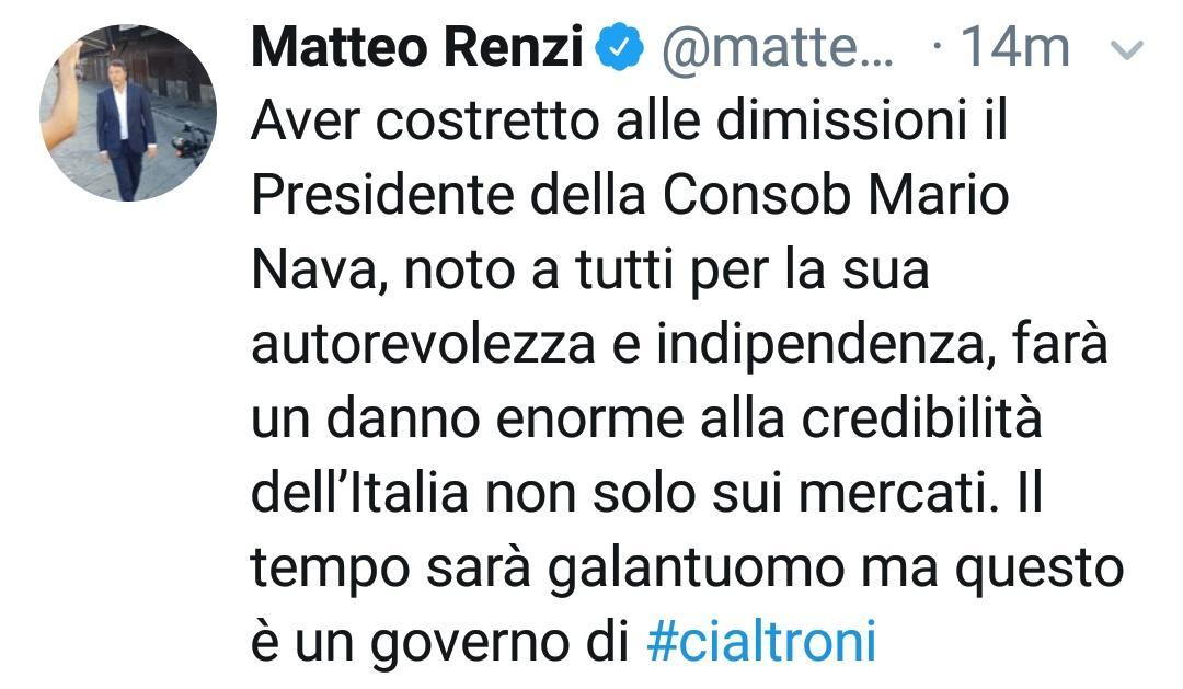 Questo è un tweet su #Nava, presidente #Consob dimissionario, che mi piace. Esattamente perché abbiamo costretto @matteorenzi a scriverlo...  - Ukustom
