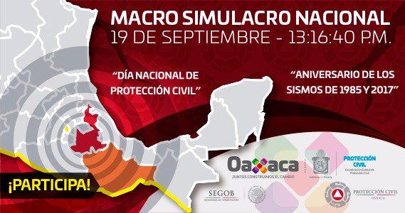 Recuerda: Oaxaca participará en macrosimulacro del 19S