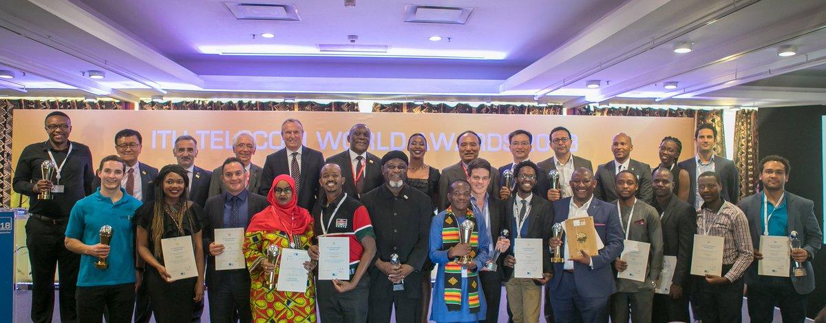 ITU Secretary-General poses for a photo with all the ITU Telecom World 2018 Award winners