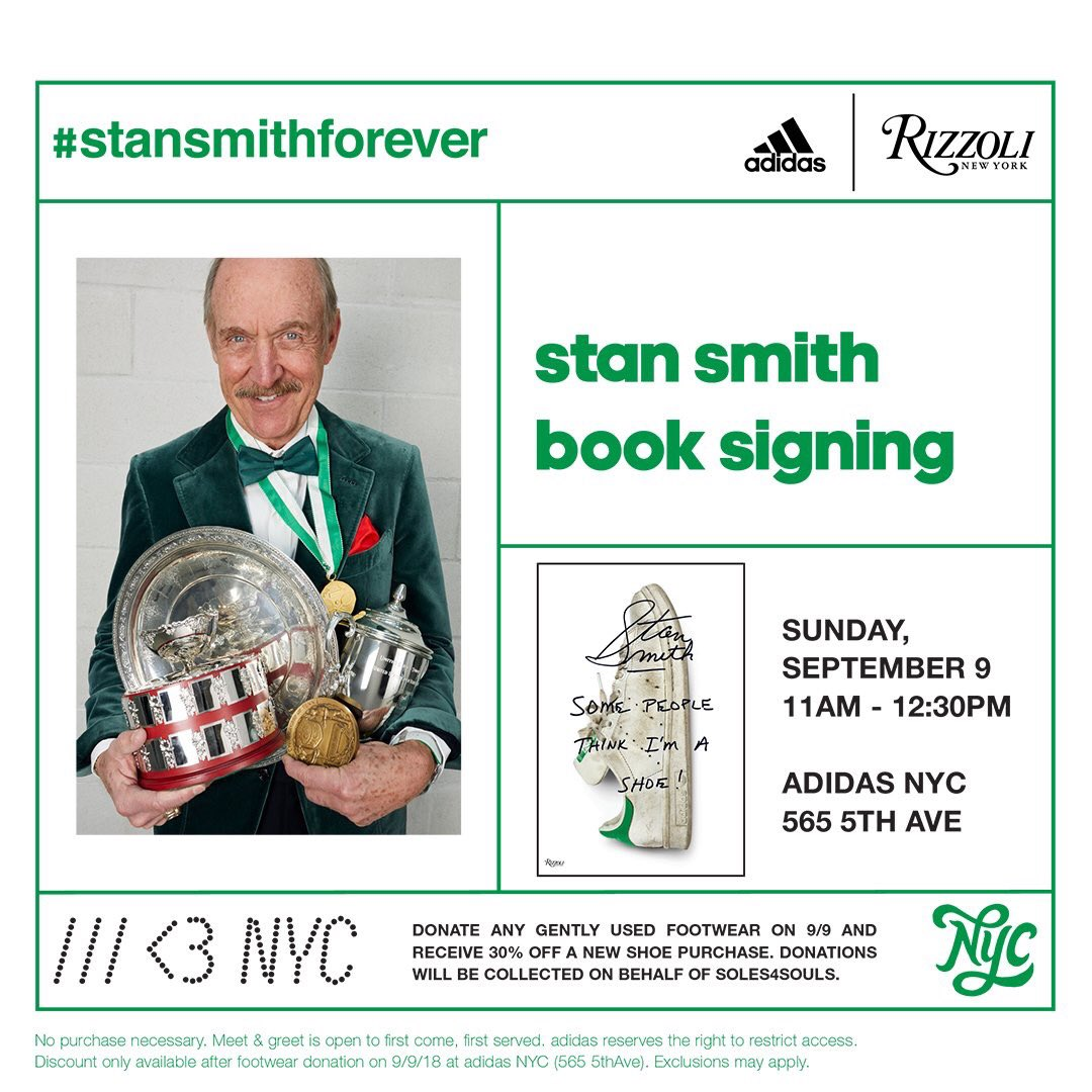 new concept bd8ce 155eb Join us at adidas NYC 5th Ave. with stansmithonline for the launch of his  new book,