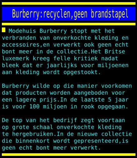 Nos Teletekst On Twitter Burberry Recyclen Geen Brandstapel
