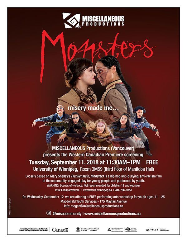 Free Screening of Monsters, an Anti-Bullying and Anti-Racism Play for and by Young People