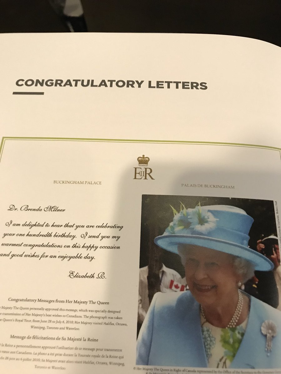 giuseppe iaria on twitter personal wishes from the queen of england to dr milner for her 100th birthday milner100