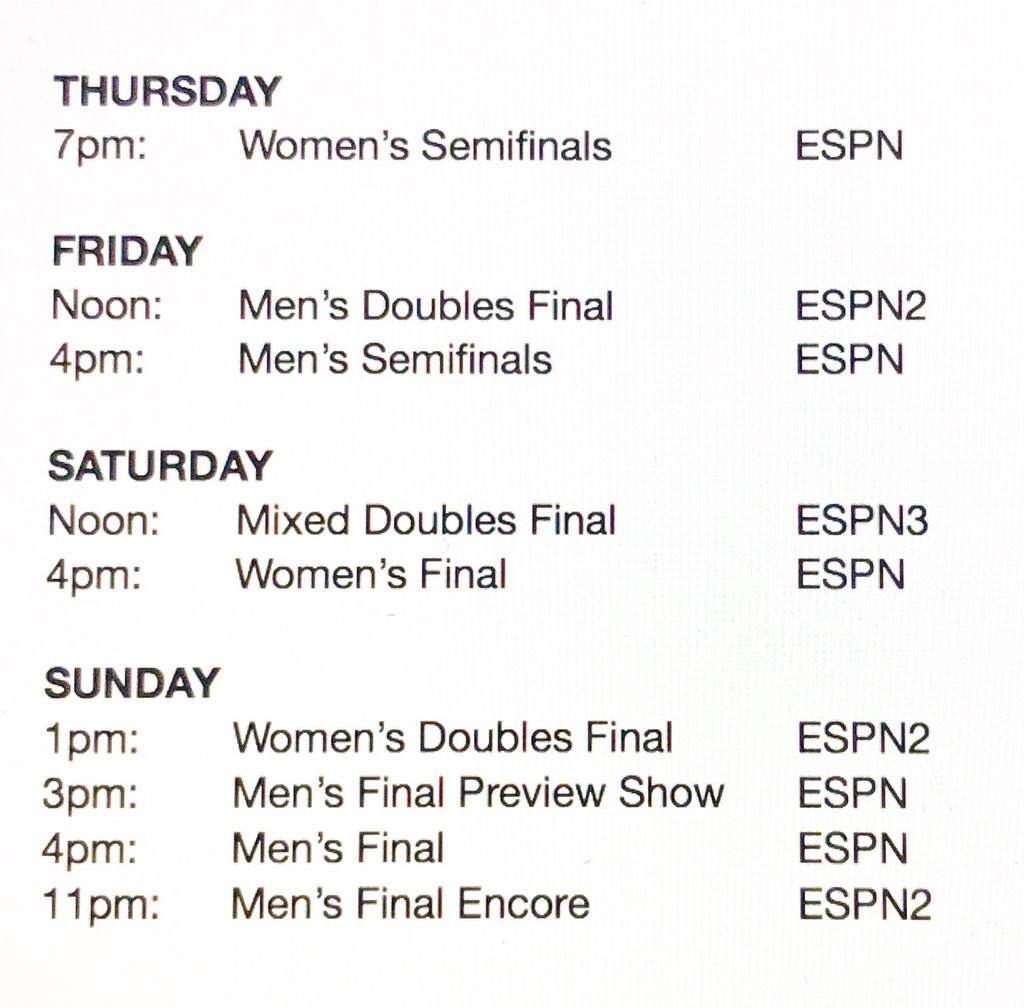 "darren cahill on twitter: ""tv schedule for the final 4 days @usopen"