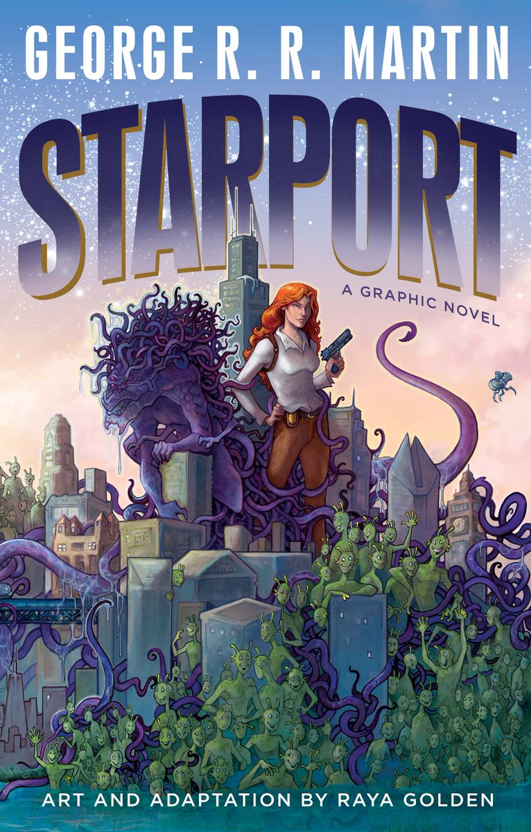 Were proud to announce STARPORT a new graphic novel coming in March 2019 Based on one of the TV pilots GRRM wrote in the 90's. STARPORT was illustrated and adapted in full color by @RayaGolden and assisted by Rachel Hilley. Read all about it on the blog georgerrmartin.com/notablog/2018/…